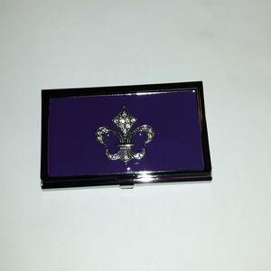 Purple and Silver Fleur de lis bus card holder